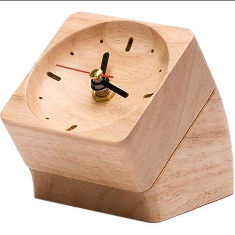 WWUUOOPRT Relojes de Casa Relojes de Alarma Estilo Simple Relojes creativos de Madera Maciza - Reloj