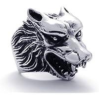 Aooazジュエリー メンズリング ステンレス指輪 ウルフ オオカミ 狼のヘッド アニマルデザイン ブラックとシルバー アクセサリー 日本サイズ33号(USサイズ15号)