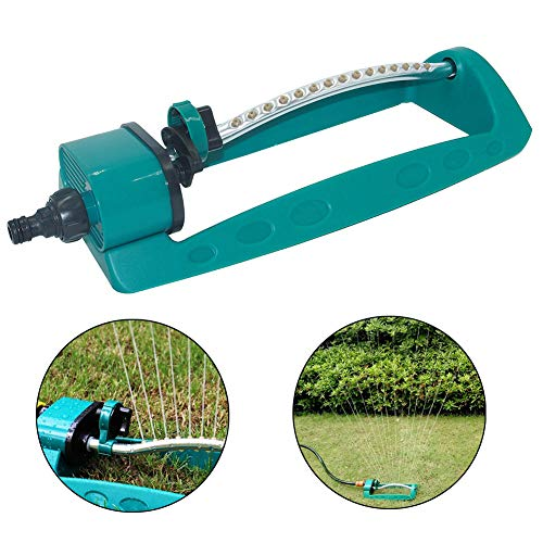 Hangyuan Oscillating Sprinkler with Brass Nozzles,15 Hole Non-Blocking Automatic Swing Type, Indestructible Metal Base