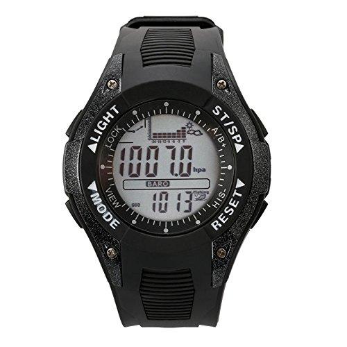SUNROAD Digital Fishing Barometer Watch, Barometer Altimeter Thermometer Multifunctional Fishing Sports Watch, Men Wristwatch
