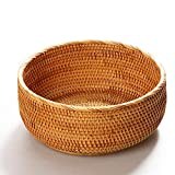 "amololo Hadewoven Round Rattan Fruit Basket Wicker Food Tray Weaving Storage Holder Dinning Room Bowl (Large 9.8"")"