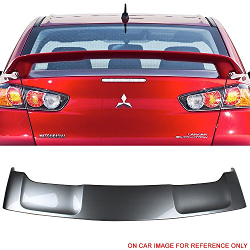 Pre-painted Trunk Spoiler Fits 2008-2017 Mitsubishi Lancer | OE Style ABS Painted #U17 Mercury Gray Metallic Trunk Boot Lip Wing Deck Lid Other Color Available By IKON MOTORSPORTS | 2009 2010 2011 (Gts 8 Boots)