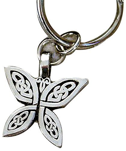"""Medium Celtic Circle - Unique & Custom 1 Single Medium Size """"Split"""" Circle Keychain Ring Made of Pewter w/ Celtic Knot Irish Butterfly Style Charm Made of Metal {Silver Color}"""