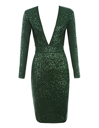 UONBOX Women's Long Sleeves Deep V Plunge Neck Sequin and Bandage Club Party Dress (Green, L) - Harlem Long Sleeve