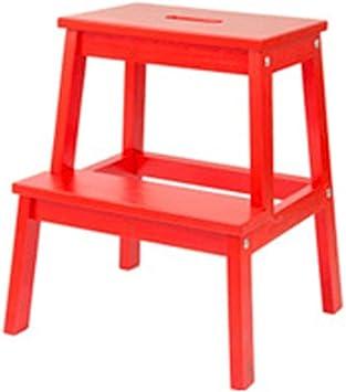 QQXX Taburete de Madera Taburete Escalera de Dos escalones Taburete Plegable para pies Cocina Simple, Alto 50 cm, 3 Colores (Color: Rojo): Amazon.es: Hogar