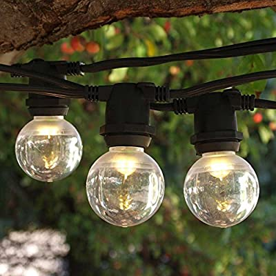 Commercial C9 String Lights - 25 ft Black - LED G40 Smooth Bulbs WW