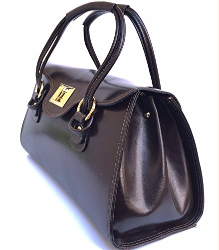 SUPERFLYBAGS Borsa Bauletto In Vera Pelle Liscia Lucida modello Martina Made in Italy testa moro