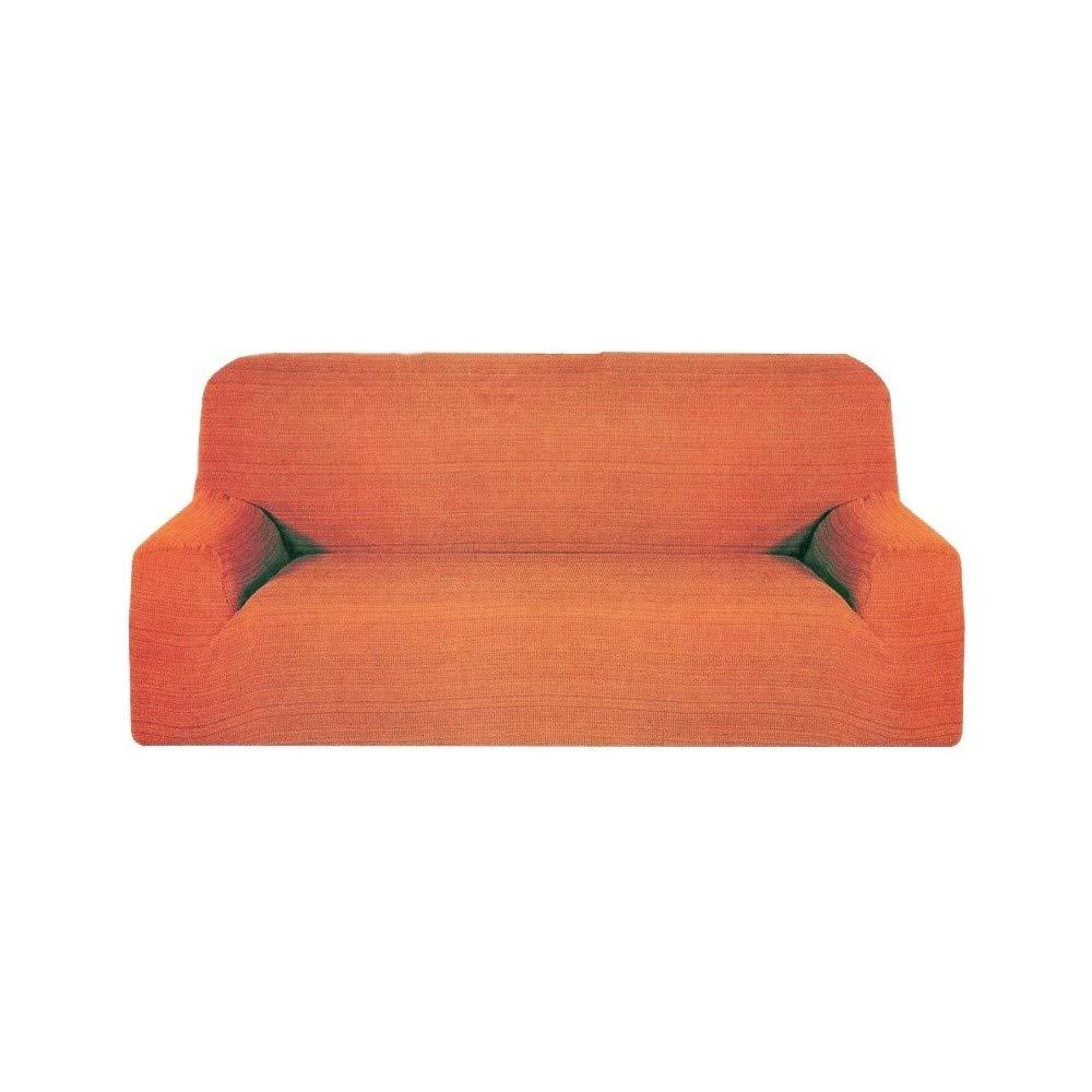 tradeshoptraesio – Sofá 2 plazas Naranja Melody extensible de 110 a 150 cm elástico