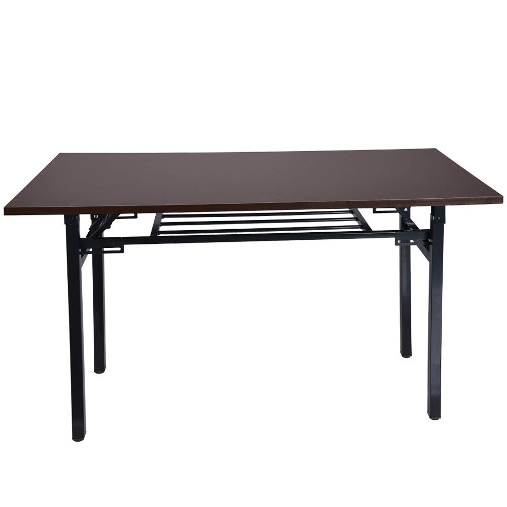 Cloudro Folding Computer Desk Desktop Desk,Portable Simple Student Writing Home Desk,Vintage Office Desk Features Heavy-Duty Metal Base Works As Writing Desk or Study Table