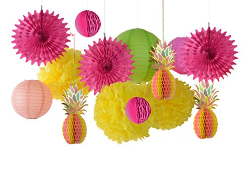 Paper Jazz Multicolored Paper Honeycomb Pineapple Table Centerpiece Hanging Party Decoration for Summer Party Pool Party Birthday Hawaiian Tropical Party Tea Party Seaside Beach Party (Rose -