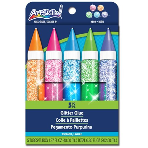 Neon Jumbo Glitter Glue, 5 Pieces  by
