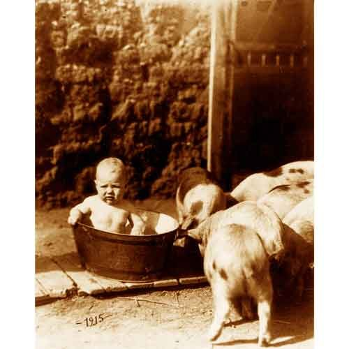 Quality digital print of a vintage photograph - Baby in Tub Sepia Tone 8x10 inches - Luster Finish