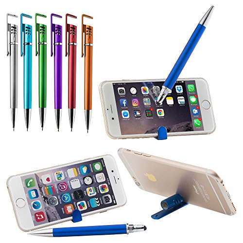 6 Pack Stylus Pen Combo - 3 in 1 Ballpoint Pen. Plus a FREE Metal stylus pen with light. (Light Grading)