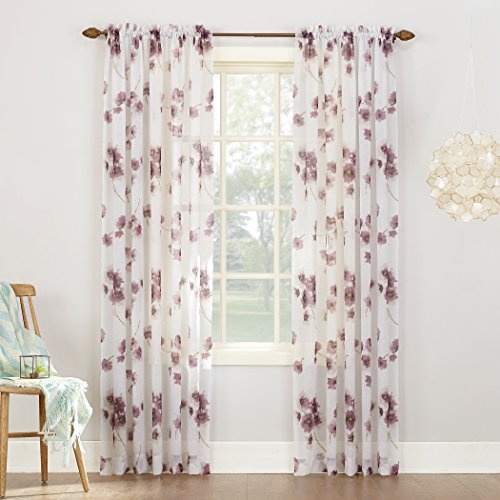No. 918 Kiki Floral Print Crushed Sheer Voile Rod Pocket Curtain Panel, 51″ x 95″, Lavender Purple Review