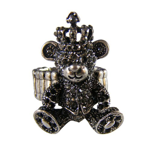 [Twinkle Crystal Metal Ring - Bear (Black)] (Homemade Gothic Costumes For Women)
