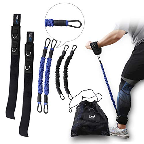WITHWOD Leg Resistance Elastic Bands Speed and Agility Training Sets | Ankle Strength Straps | Fitness & Exercise & Workout | Increase Muscle Endurance, Sprint Speed, Acceleration