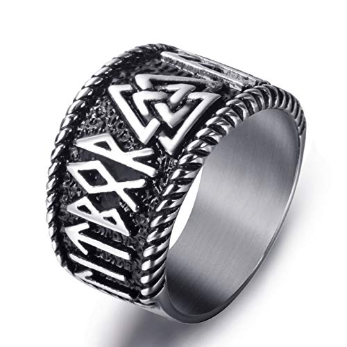 (Elfasio Mens Stainless Steel Ring Viking Valknut Scandinavn Odin Symbol Norse Text Vintage Jewelry Size 10)