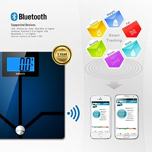 Etekcity Bluetooth Digital Smart Body Fat Weight Scale with 4.3 inch Large Display, 400 pounds (Bluetooth Scale)