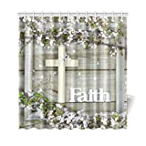 Artsadd Shower Curtain Collection Cross and Faith Cherry blossm Waterproof Fabric Shower Curtain Bath Curtain 69''x70''