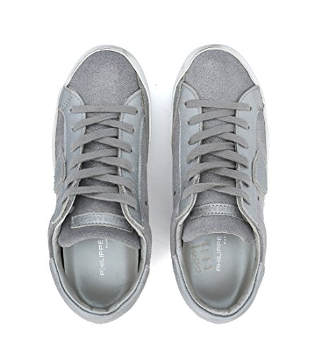 Sneakers Donna Philippe Modello Paris In Camoscio Argento Laminato Grigio