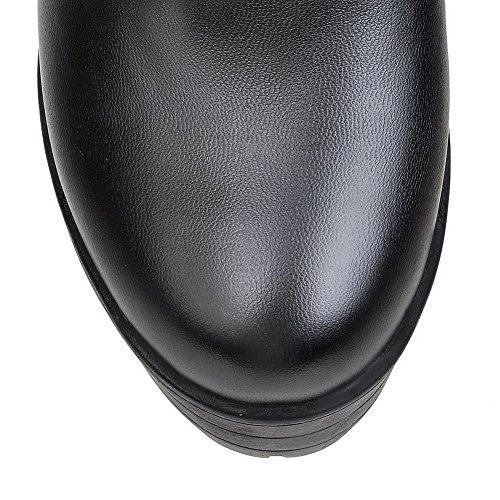 AllhqFashion Mujeres Tacón ancho Plataforma Sólido Caña Media Botas con Pompones Negro