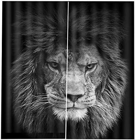 QinKingstore 漫画タイガーブラックアウト3Dウィンドウカーテン動物クッションカーテン150 * 166センチメートル現代家の装飾リビングルームの寝室