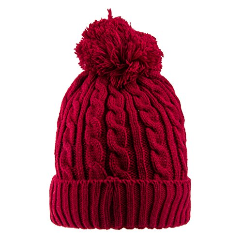 anie (Wine Cable Knit With Cozy Lining and Pom) (Fun Pom Poms)