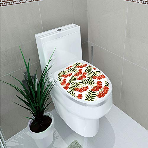 Toilet Sticker 3D Print Design,Rowan,Vibrant Red Berries Mountain Ashes Pattern Rural Nature Garden Theme,Scarlet Olive Green White,for Young Mens,W12.6