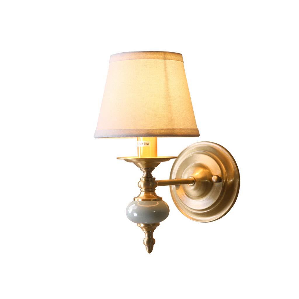 Messing-6.3\ ZDD E14 Kupfer Wandleuchte, Wohnzimmer Schlafzimmer Nacht Korridor Gang Keramik dekorative Licht (Farbe   Messing-6.3 x10.6 )