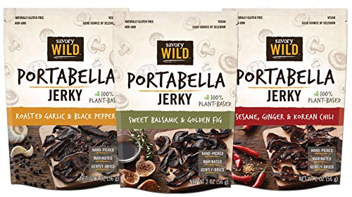Savory Wild Mushroom - Savory Wild Portabella Mushroom Jerky Variety Pack - Sesame & Chili, Balsamic & Fig, Garlic & Pepper