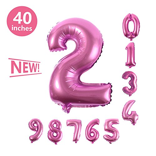 Number Balloons, Toufftek Pink 40 Inch Number 2 Funny Foil Number Balloons for Birthday Party Baby Shower Wedding Anniversary Halloween -