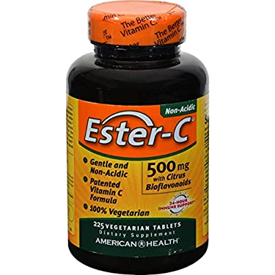 American Health Ester-C with Citrus Bioflavonoids - 500 mg - 225 Vegetarian Tablets - Non acidic and gentle on the stomach