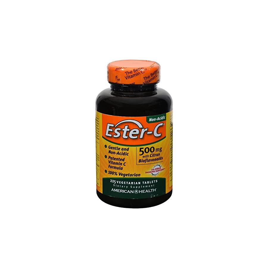 American Health Ester C with Citrus Bioflavonoids 500 mg 225 Vegetarian Tablets Non acidic and gentle on the stomach