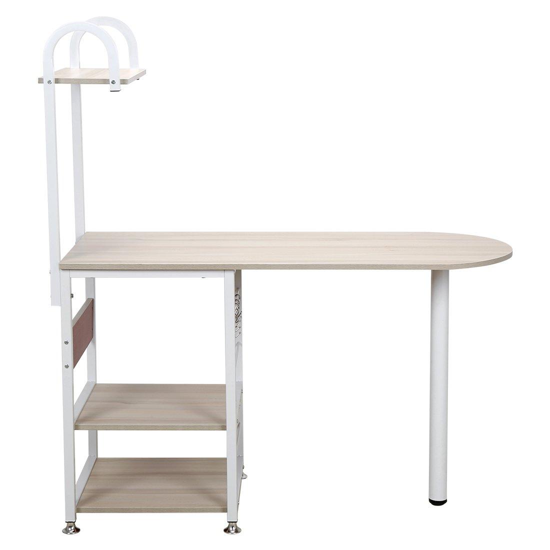 4 Tier Multipurpose Storage Shelf Bakers Rack, Metal Frame and Wooden Worktop for Kitchen by BestValue GO (Image #7)