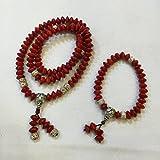 100% Natural Acacia Red Beans (Adenanthera Pavonina) Handwork Ornament Set (Necklace and Bracelet)