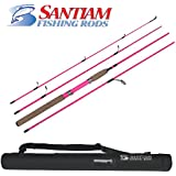 "Santiam Fishing Rods Pink Travel Rod 4 Piece 7'0"" 4-10lb Light Graphite Spinning Rod"