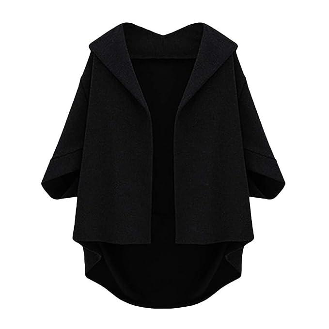 OVERMAL Coats 2018 Clearance Womens Autumn Bat Sleeves Cropped Sleeves Five Plus Winter Woolen Coat BK