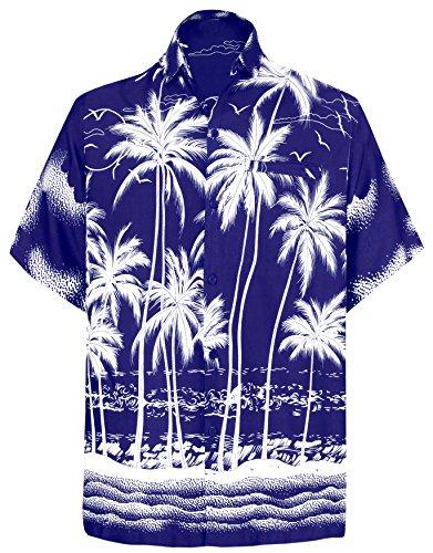 LEELA Likre Beach Point Collar Shirt Royal Blue 253 Medium | Chest 40