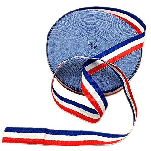 Red White and Blue Grosgrain Stripes Ribbon American Flag Patriotic Ribbon for Independence Day Party Decoration 50 Yards (Ribbon Strap Stripe)