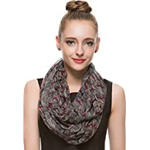 HUAN XUN Multicolored Mini Horse Print Infinity Loop Scarf Lightweight, Black Red