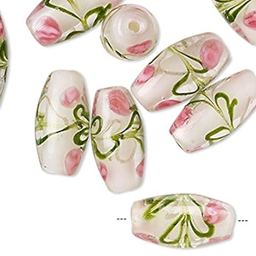 12 Lampwork Glass Pink & Green Flower Double Cone Beads for Jewelry Making, Supply for DIY Beading Projects ~ 18x8mm