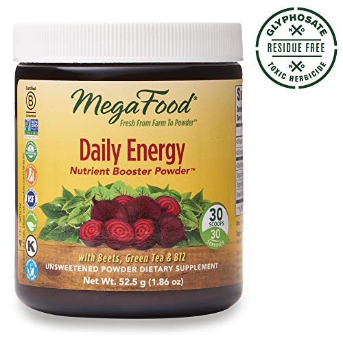 MegaFood, Daily Energy Booster Powder, Supports Energy and Stamina, Drink Mix Supplement, Gluten Free, Vegetarian, 1.86 oz (30 Servings)