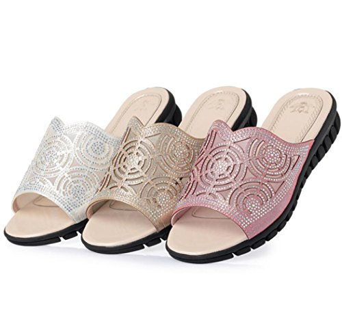 Flops Wedge Mujeres Sandalias Las caseros DANDANJIE Mesh Zapatos Flip Rhinestone Heel Sandalias Oro de Summer Ladies Slippers q1wYYPH