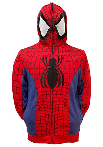 Marvel Spider-Man Men's Cosplay Full Zip Hoodie (Large)]()