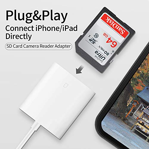 dyplay for Lightning to SD Card Camera Reader OTG Memory Card Adapter, Picture/Video Import Kit, White ()