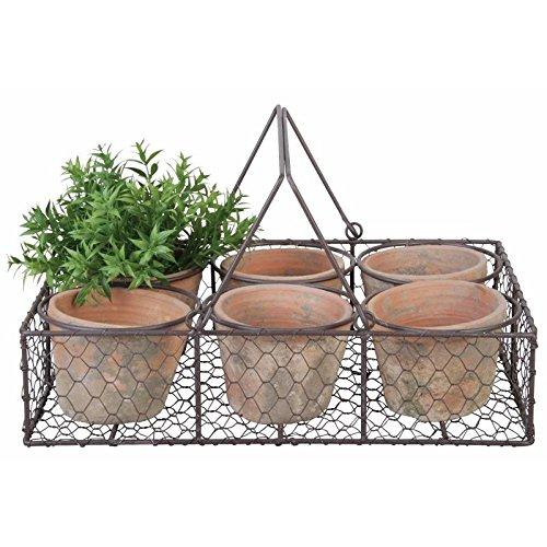 L' héritier del Tempo cestino decorativo da Tavolo set di 6 Vasi in terracotta interno e esterno panière grillagée 10,5 x 25,5 x 37,5 cm