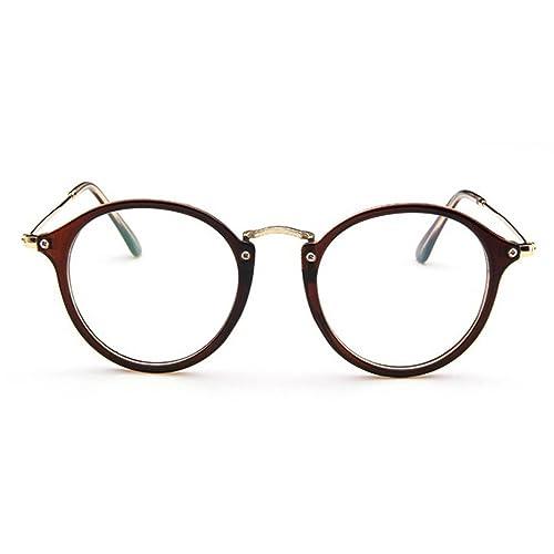 Montura de Gafas Retro Redonda Mujer y Hombre (Marrón) Forepin® Vidrios de la vendimia Vintage Marco...