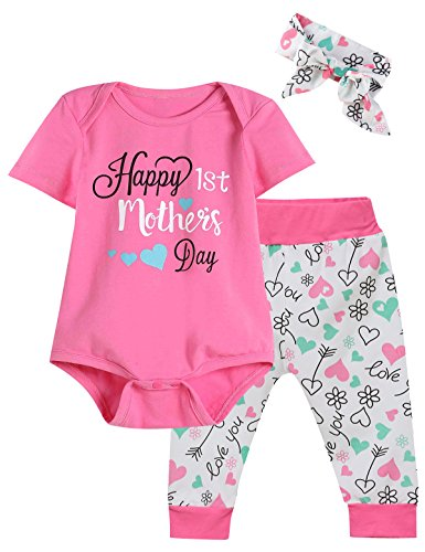 3PCS Happy 1st Mother's Day Baby Girls' Short Sleeve Romper funny Pants with Hat (3-6 Months) (Button Day Happy Mothers)