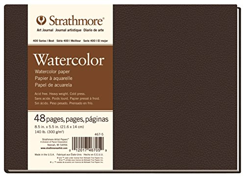 Strathmore 467-5 400 Series Hardbound Watercolor Art Journal, 8.5''x5.5'' 24 Sheets by Strathmore Paper