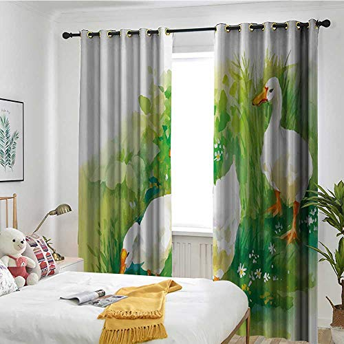 (TRTK Thermal Insulated Blackout Curtain Filling Blackout Curtains Rubber Duck,Goose in Farm Lake Plants Grass Reeds Flowers Pond Animals Geese Feathers,Green and White)